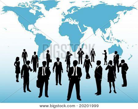 Grupo de personas de negocios global siluetas conectan bajo mapamundi