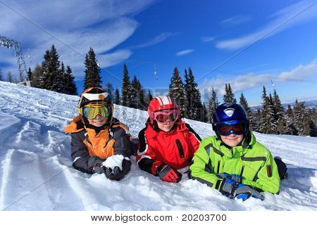 Children on a snowy slope