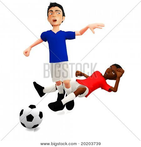 3D Male football players making a foul - isolated over white