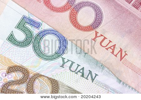 Close-up shot of Chinese banknote