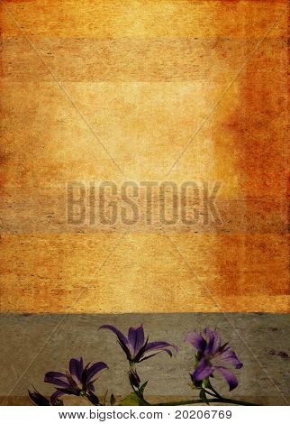lovely green / golden background image with interesting texture, floral elements and plenty of space for text