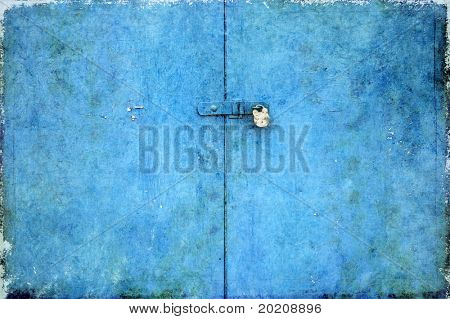 background image of a padlock on a door painted bright blue
