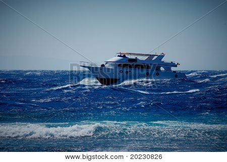 The Boat In Stormy Sea
