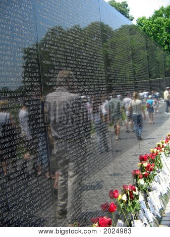 Vietnam War Memorial With Reflection Of Visitors
