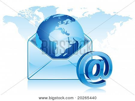 e-mail icon, global communication