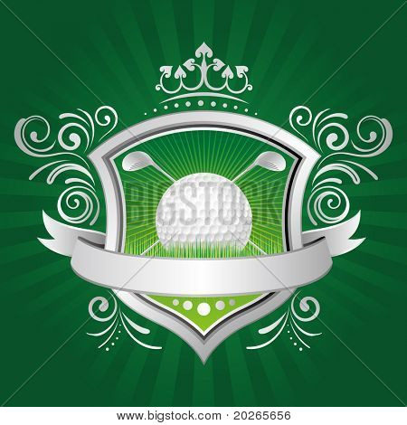 golf,shield,crown,green background