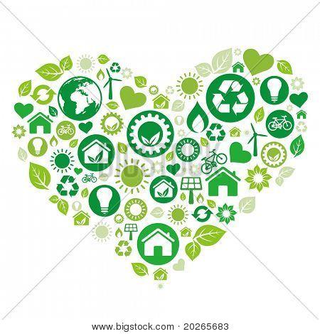 green heart illustration,environment icon