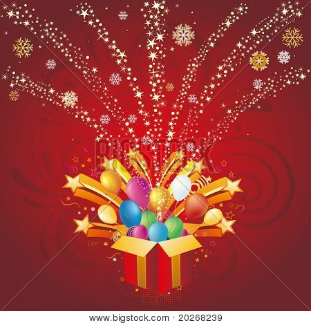 gift box and star,christmas celebration background