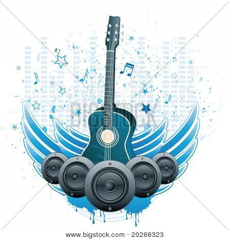 guitar and wings,music theme background