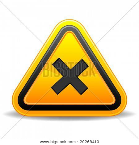 Yellow triangular warning sign indicating crossroads