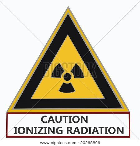 "triangular nuclear warning sign with ""caution ionizing radiation"" below on white background,"