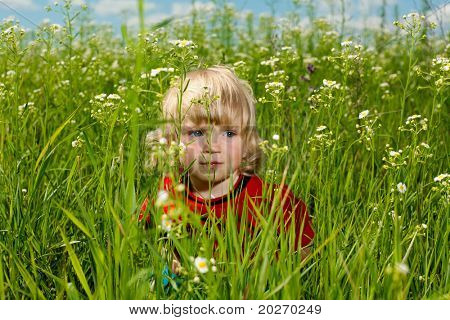 boy enjoy on meadow