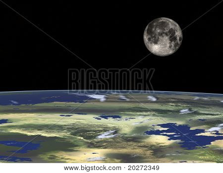 Space travel, Full Moon at the horizon