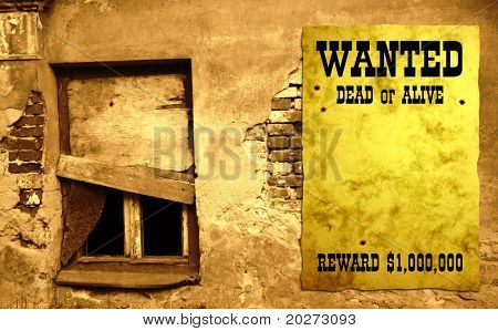 Retro poster on the wall - Wanted in Wild West style