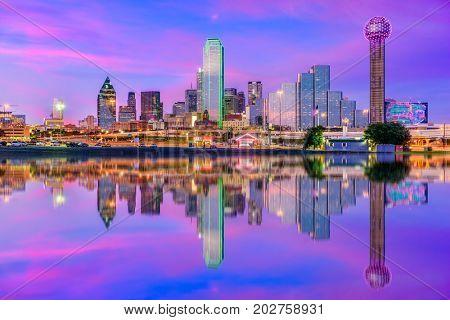 poster of Dallas, Texas, USA downtown city skyline.