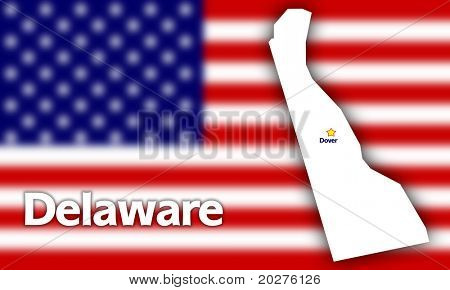 Delaware state contour with Capital City against blurred USA flag