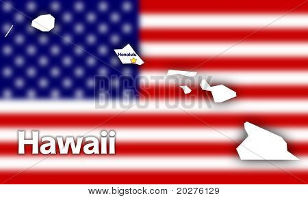 Hawaii state contour with Capital City against blurred USA flag