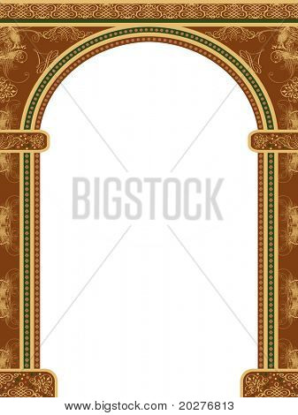 Arch with ornaments, isolated against white