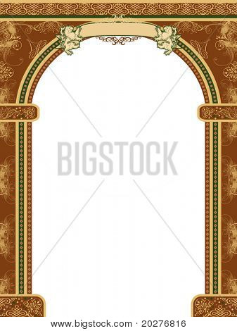 Arch with ornaments, banner with lions for your text