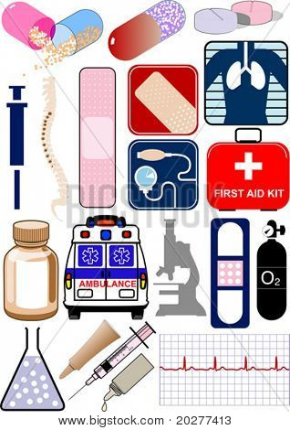 Vector medical objects, icons and logos