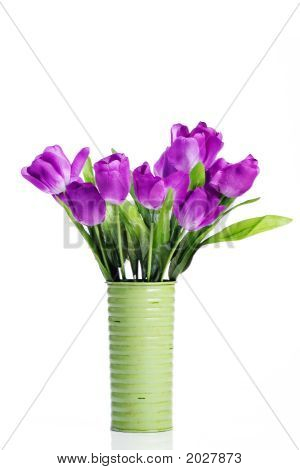 Purple Tulips In Green Vase