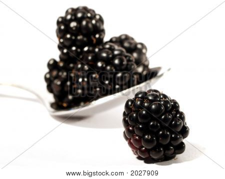 High Key Blackberries With Spoon Isolated On White