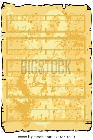 Vector aged like music sheet background