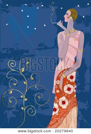 Smoking stylish lady in vintage Paris style, vector format