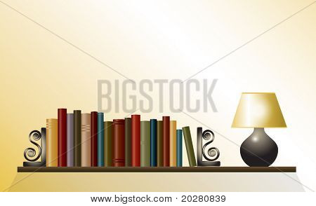 A bookshelf of books between bookends with table lamp. Space for your text. EPS10 vector format.