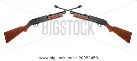 Two rifles on white background.