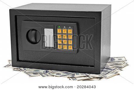 Metal Safe Is On Hundred Dollar Bill.