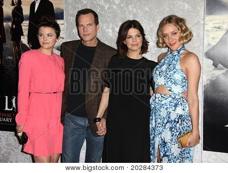 LOS ANGELES - JAN 12:  (L) Ginnifer Goodwin, Bill Paxton, Jeanne Tripplehorn & Chloe Sevigny arrives to Season 5 premiere of