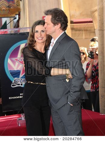 HOLLYWOOD - JAN 13: Colin Firth & wife Livia at the ceremony for actor Colin Firth as he receives star on the walk of fame on January 13, 2011 in Hollywood, CA