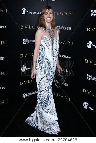 LOS ANGELES - JAN 13:  Milla Jovovich arrives to Bvlgari Hosts Funraiser for Save The Children  on January 13, 2011 in Los Angeles, CA.