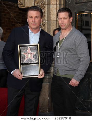 LOS ANGELES - FEB 14: Alec Baldwin & Stephen Baldwin arrive at the Walk of Fame Ceremony for Alec Baldwin on February 14, 2011 in Hollywood, CA