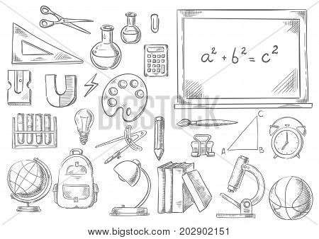 poster of School supplies and study stationery sketch icons. Vector isolated set of math ruler, scissors or calculator on chalkboard, geography globe, physics magnet or microscope and chemistry school book