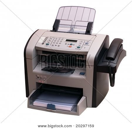 The modern multipurpose device: a fax, copier and the scanner. It is accurately isolated without shades on a white background. Studio work.
