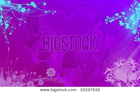 Background for valentine in delicate colors and the bright shining Japanese flowers on the edges