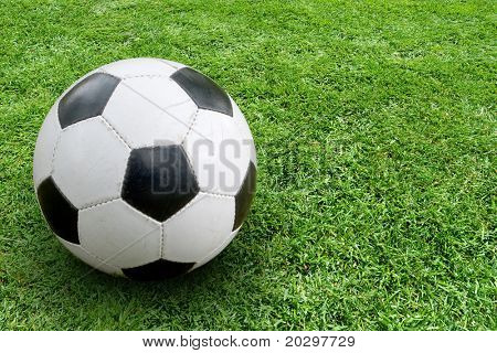 Soccer ball on ground. In the right part of the image space for text