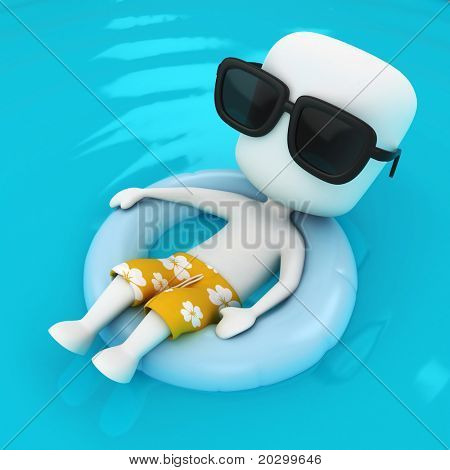 3D Illustration of a Man relaxing on a Flotation Device
