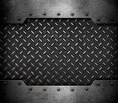 metal plate background with rivets 3d illustration poster