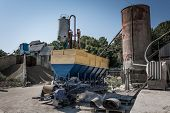 The Machine For The Production Of Cement Blocks In A Small Cement Factory. poster
