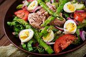 Salad With Tuna, Tomatoes, Asparagus And Onion. Salad Nicoise poster