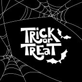 Trick Or Treat Isolated Quote And Halloween Design Elements. Vector Holiday Black And White Illustra poster