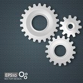 Vector Illustration Of Gears With On The Gear On Perforated Meta poster