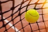 Tennis ball in net, close up poster