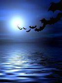 stock photo of drakula  - Bats flying over the water - JPG