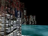 Alien City - fantasy urban structures 3d rendering poster