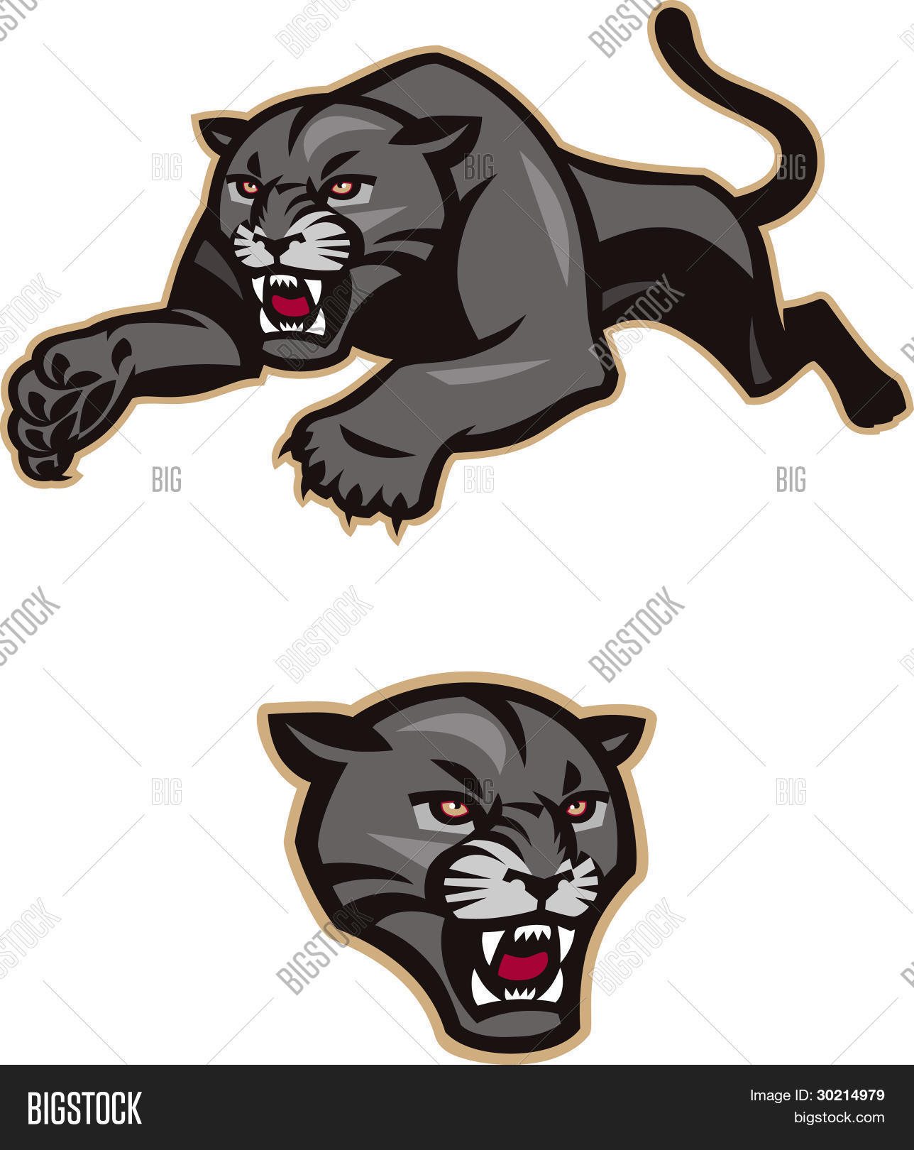 Leaping Black Panther Stock Vector & Stock Photos | Bigstock