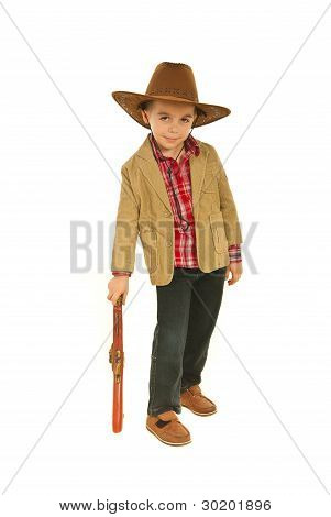 Small Cowboy Resting Hand On Weapon Toy